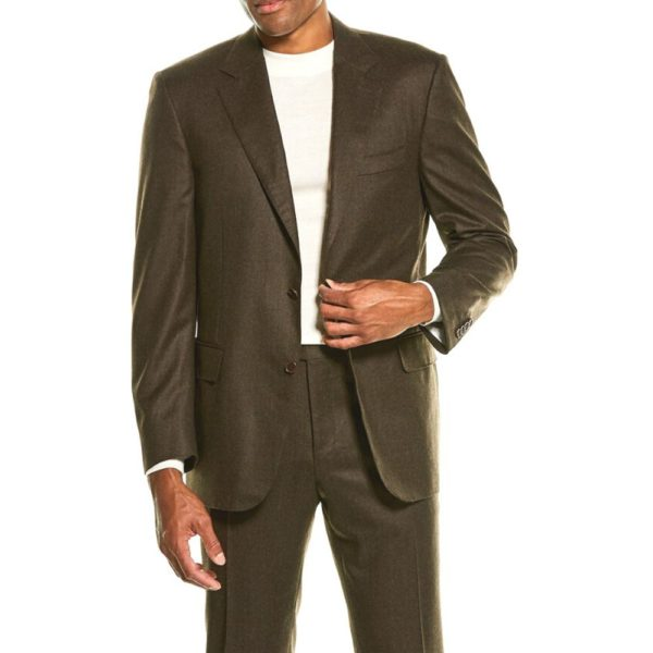 CANALI PURE WOOL TEXTURED SUIT IN BROWN