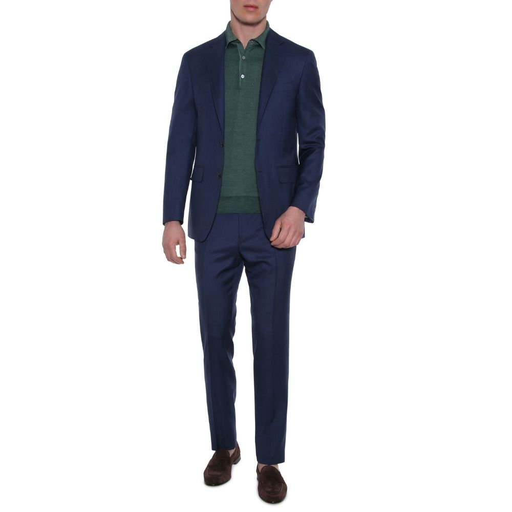 CANALI PURE WOOL TEXTURED SUIT IN DEEP BLUE