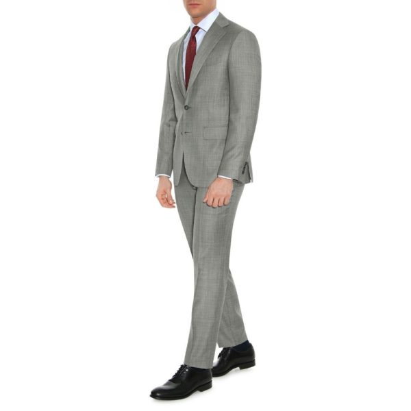 CANALI PURE WOOL TEXTURED SUIT IN GREY