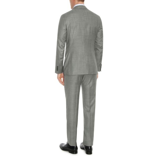 CANALI PURE WOOL TEXTURED SUIT IN GREY1