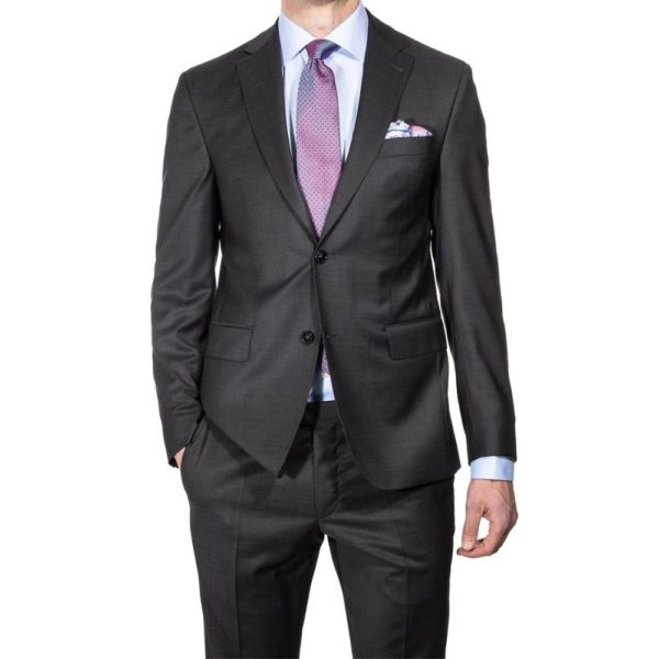 CANALI WOOL SUIT NAVY MICRO DETAIL