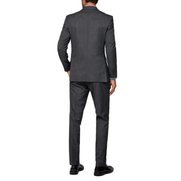 CANALI dice check charcoal suit back 2