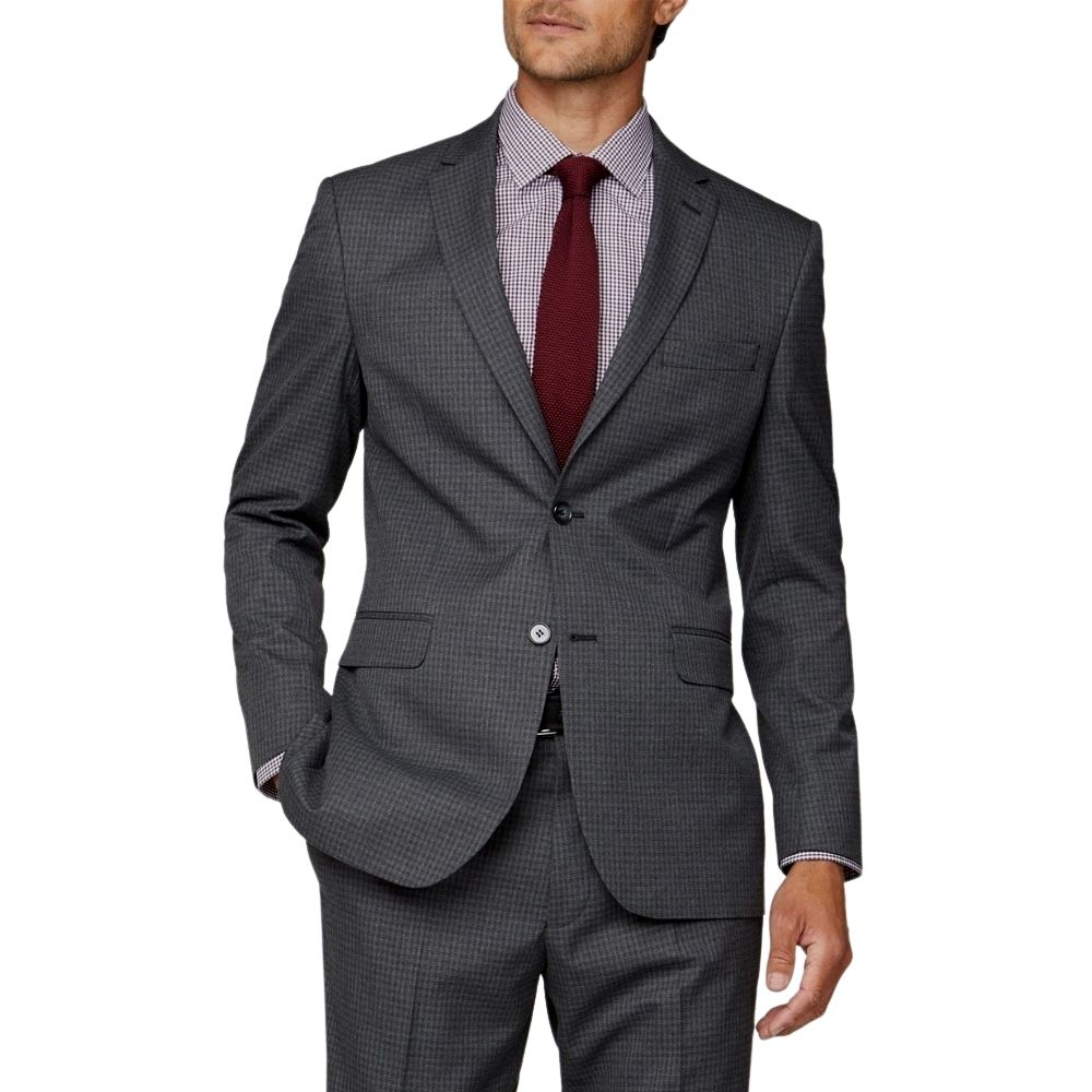 CANALI dice check charcoal suit back