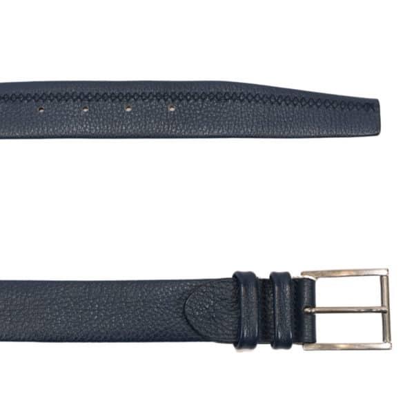 CANALI navy leather belt