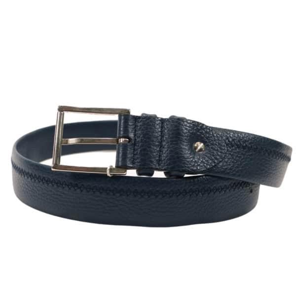 CANALI navy leather belt2