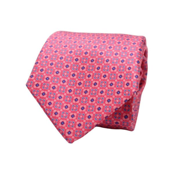 Canali Squares and Diamonds Tie Pink 1
