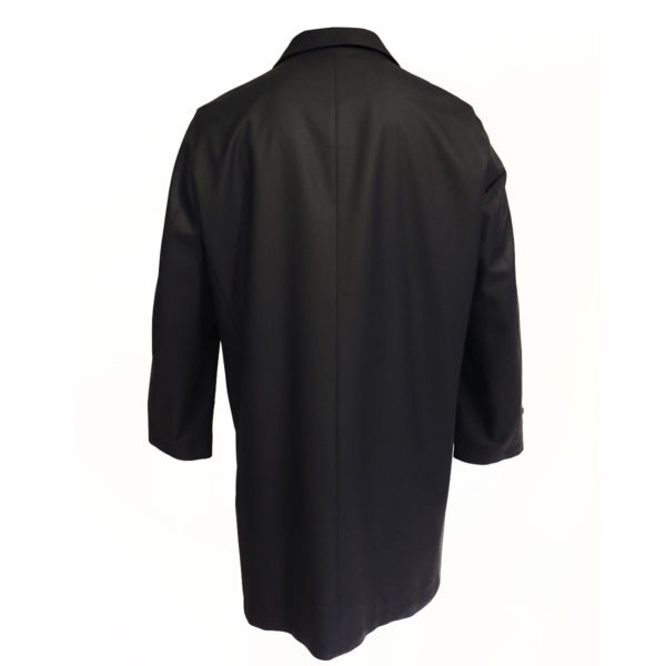 Canali black raincoat back