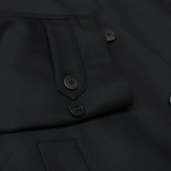 Canali black raincoat button detail