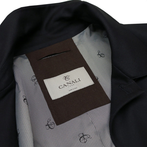 Canali black raincoat detail