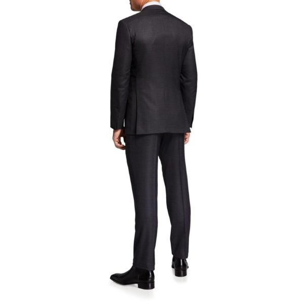 Canali charcoal suit back view