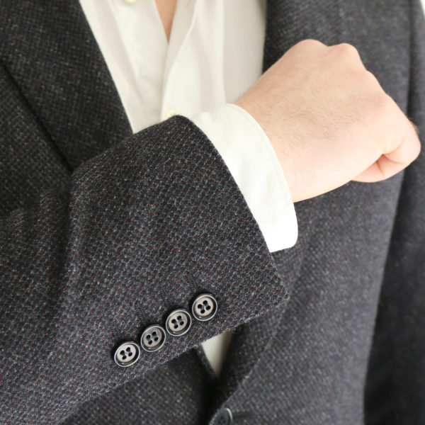 Canali charcoal textured jacket button detail