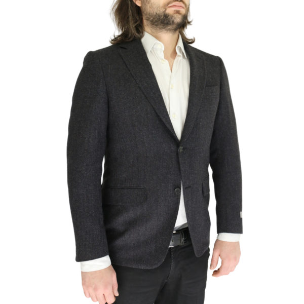 Canali charcoal textured jacket side