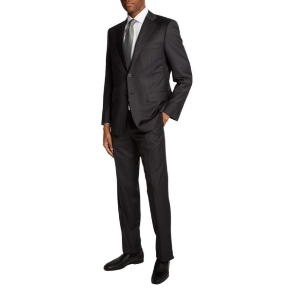 Canali classic fit charcoal suit front