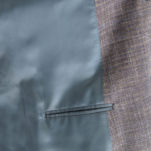 Canali grey textured jacket lining detail