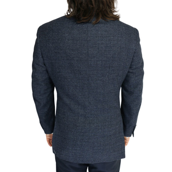 Canali jacket wool speckled navy back