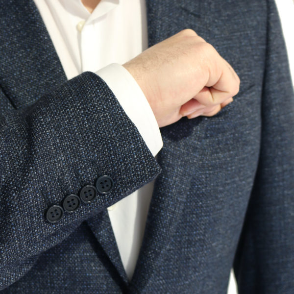 Canali jacket wool speckled navy buttons