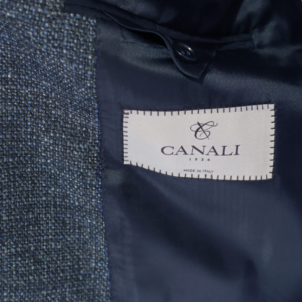 Canali jacket wool speckled navy lining