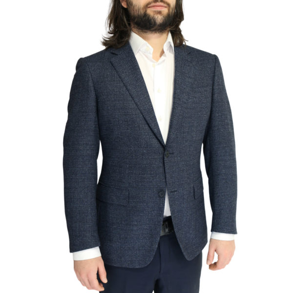 Canali jacket wool speckled navy2