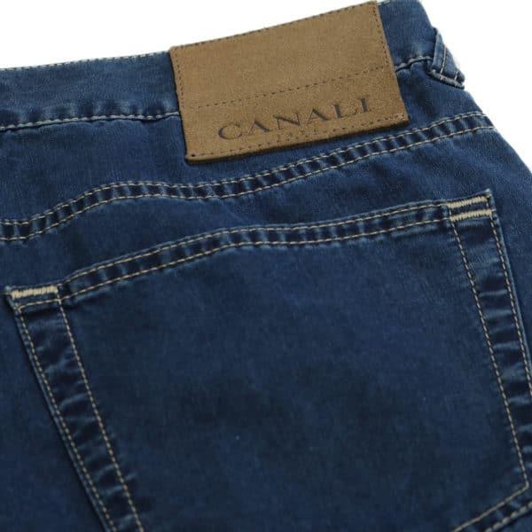 Canali jeans navy back pocket detail