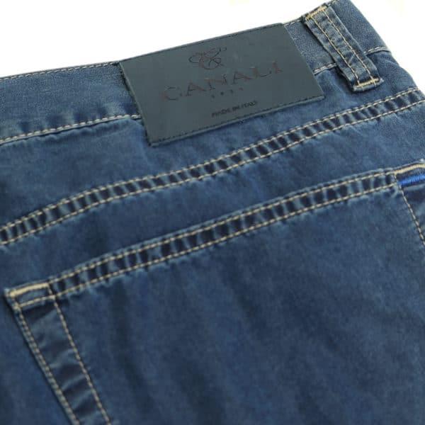Canali jeans navy back pocket detail dark label