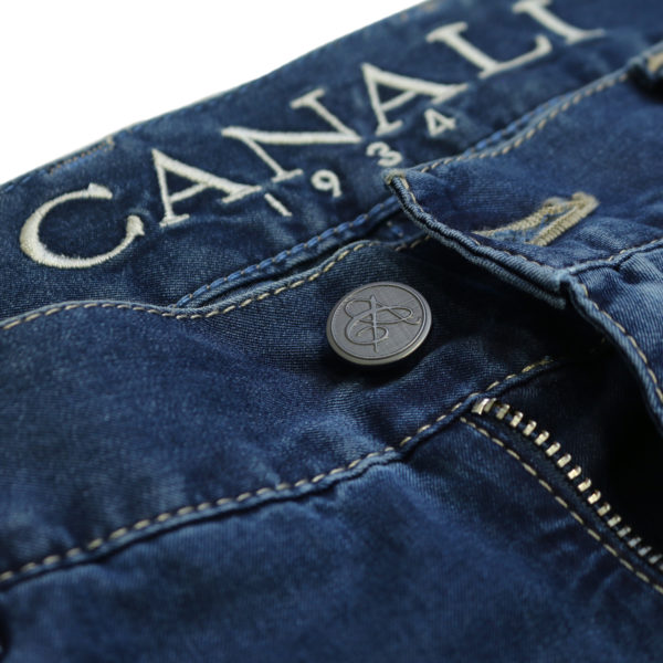 Canali jeans navy detail button