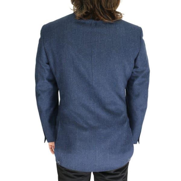 Canali navy waffle textured jacket back