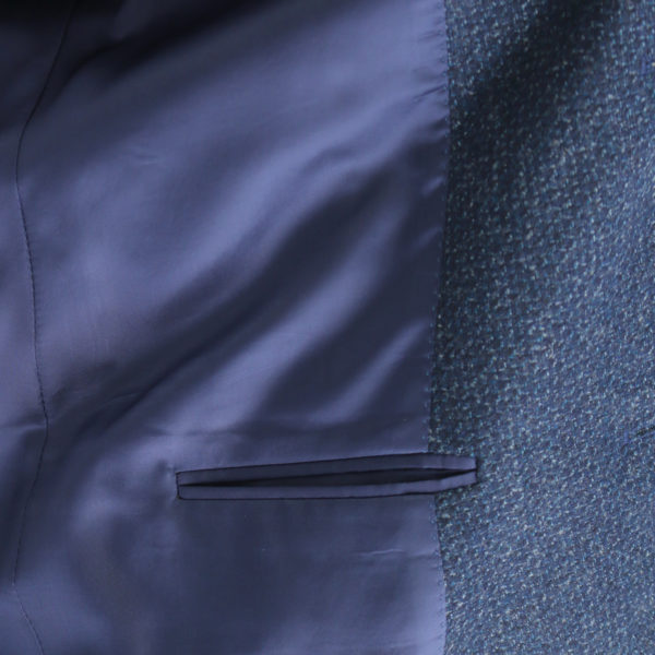 Canali navy waffle textured jacket lining detail