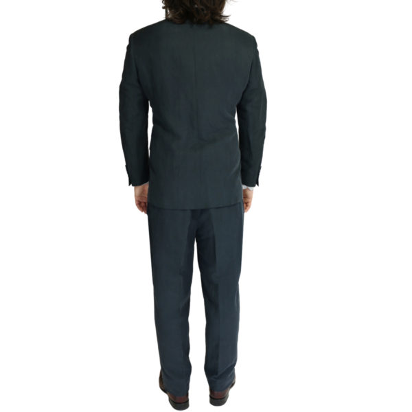Canali silk and linen suit charcoal back