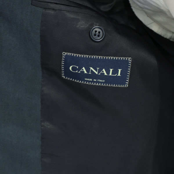 Canali silk and linen suit charcoal lining detail