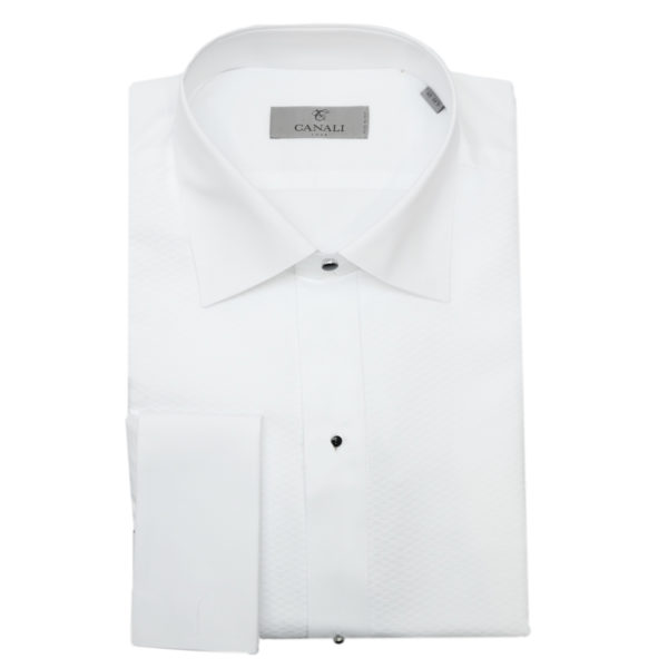 Canali white dress shirt black buttons