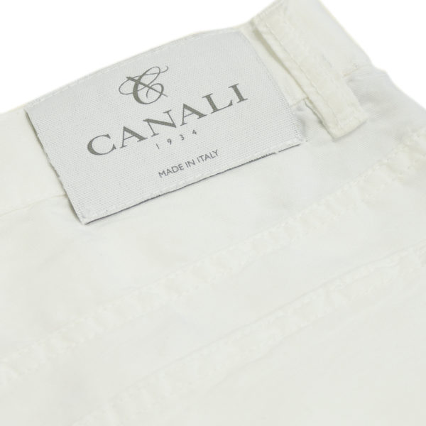 Canali white jean back pocket detail
