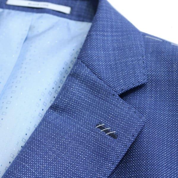 Carl Gross navy jacket collar detail