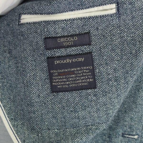 Circolo blue herringbone jacket lining