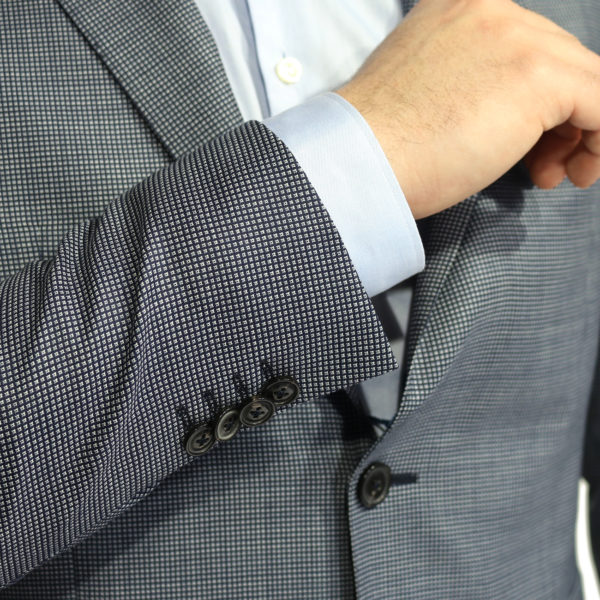 Eduard Dressler blazer jacket small check blue button detail