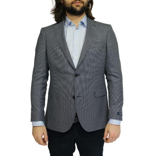 Eduard Dressler blazer jacket small check blue front