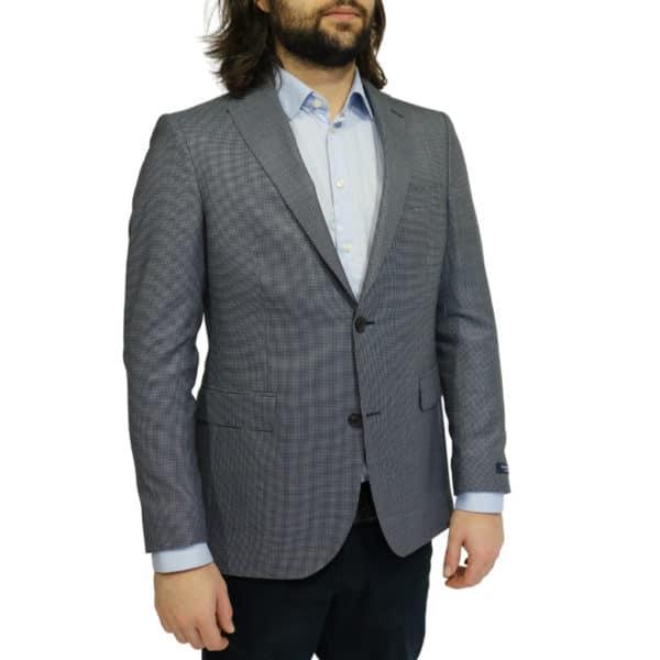 Eduard Dressler blazer jacket small check blue side