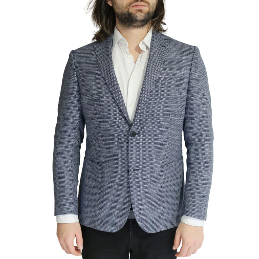 Eduard Dressler textured navy and white jacket