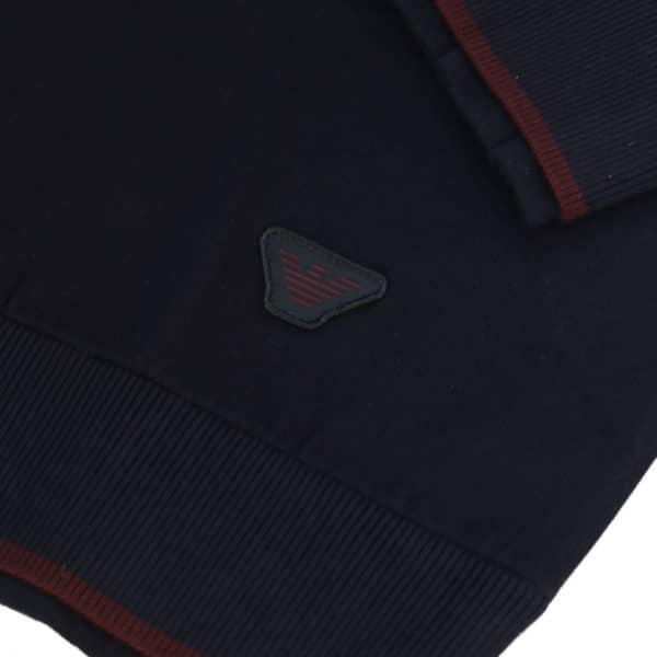 Emporio Armani half zip jumper navy detail