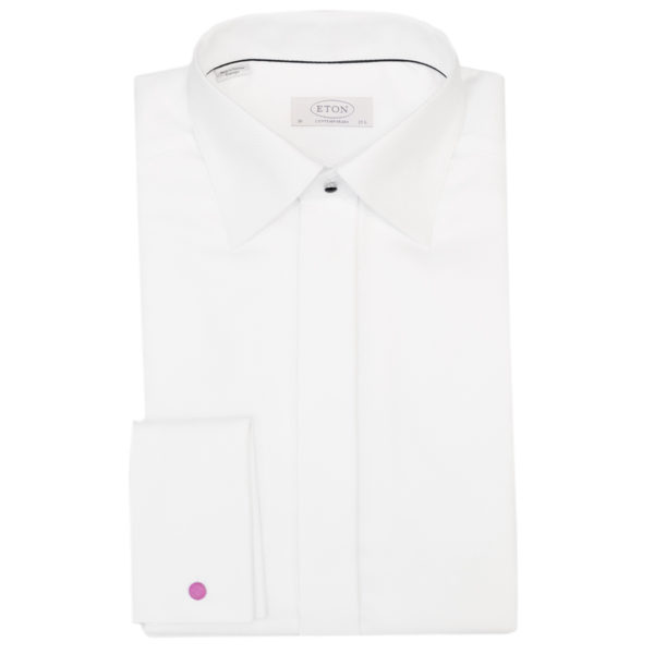 Eton evening shirt black tie white