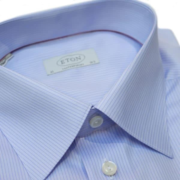 Eton shirt blue double stripe collar