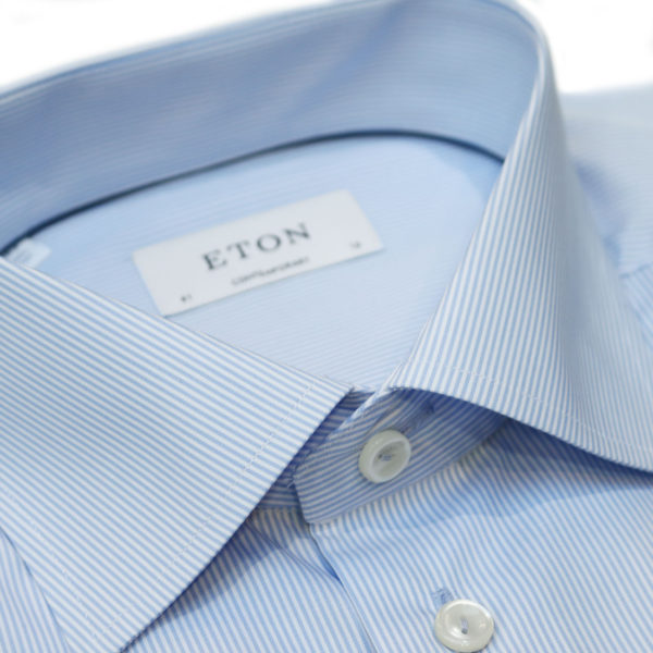Eton shirt blue stripe brighton collar