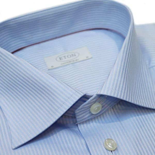 Eton shirt blue stripe herringbone collar