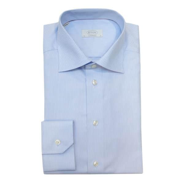 Eton shirt blue stripe herringbone twill
