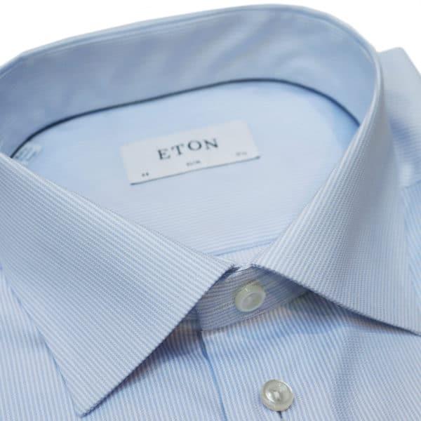 Eton shirt blue textured stripe collar