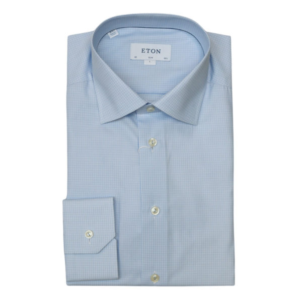 Eton shirt check twill light blue