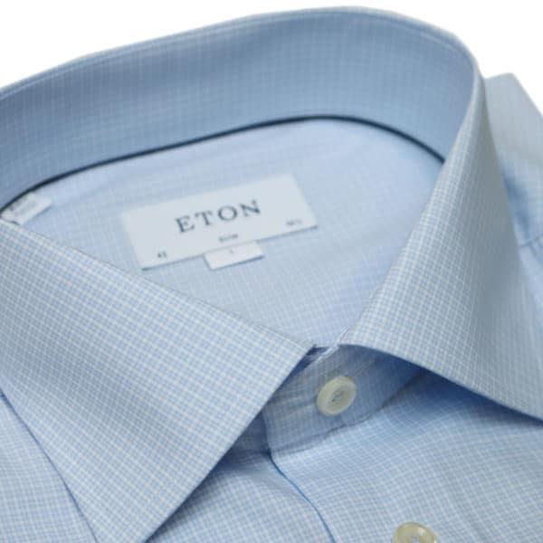 Eton shirt check twill light blue collar