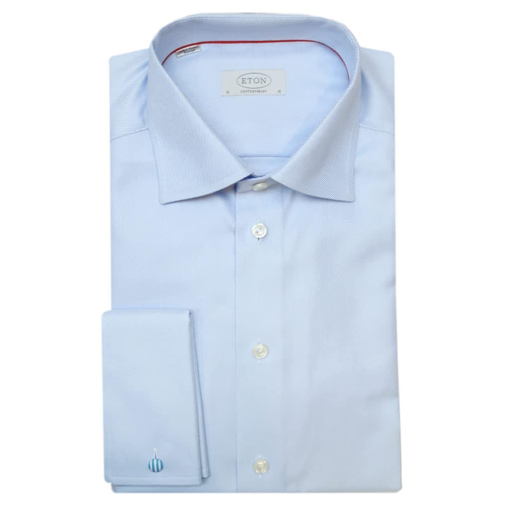Eton shirt diagonal textured twill light blue