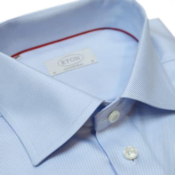 Eton shirt diagonal textured twill light blue collar