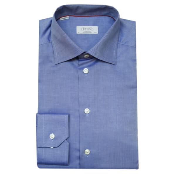 Eton shirt diagonal textured twill navy