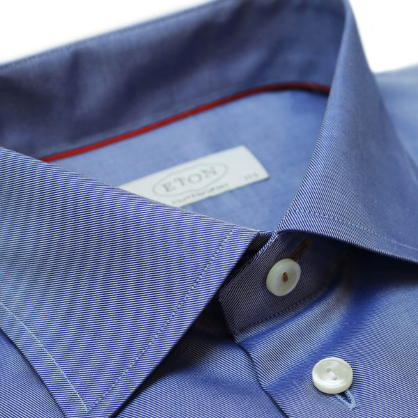 Eton shirt diagonal textured twill navy collar